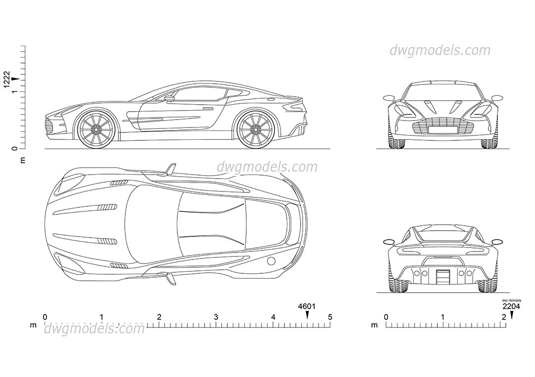 Aston Martin One-77 dwg, CAD Blocks, free download.