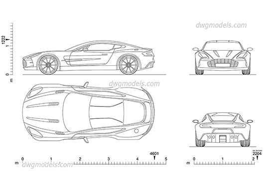 Aston Martin One-77 - DWG, CAD Block, drawing