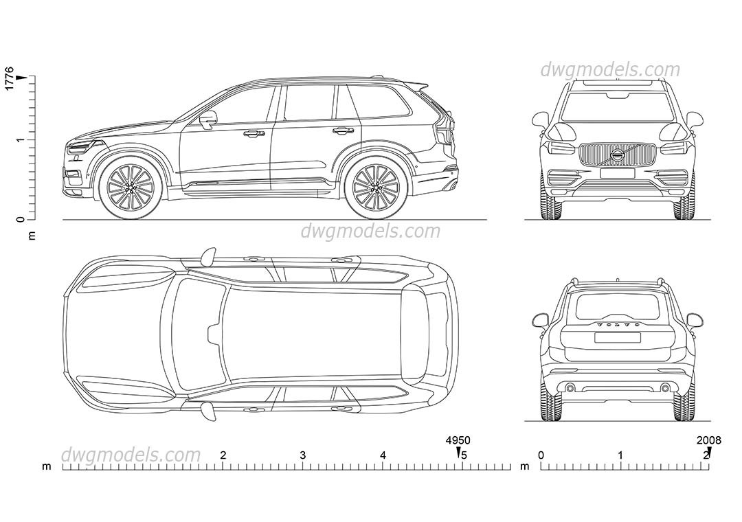 Volvo XC90 (2015) dwg, CAD Blocks, free download.
