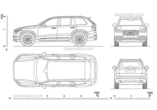 Volvo XC90 (2015) dwg, cad file download free
