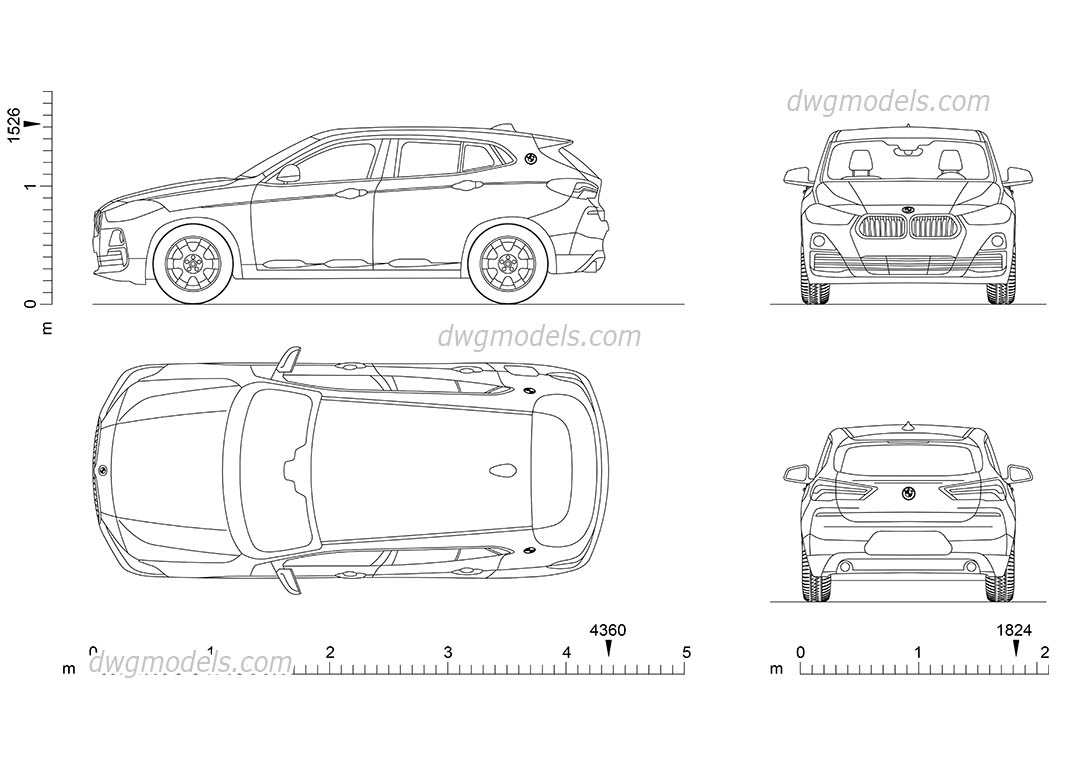 BMW X2 (2017) dwg, CAD Blocks, free download.