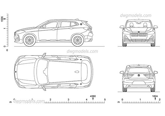 BMW X2 (2017) AutoCAD blocks