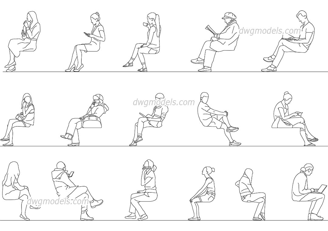Men, Women Sitting dwg, CAD Blocks, free download.