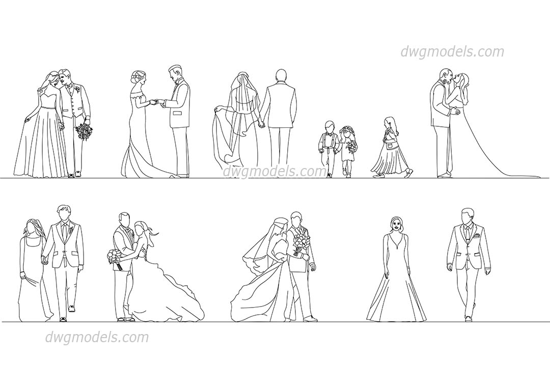 People Wedding dwg, CAD Blocks, free download.