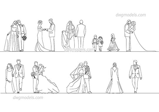 People Wedding AutoCAD blocks