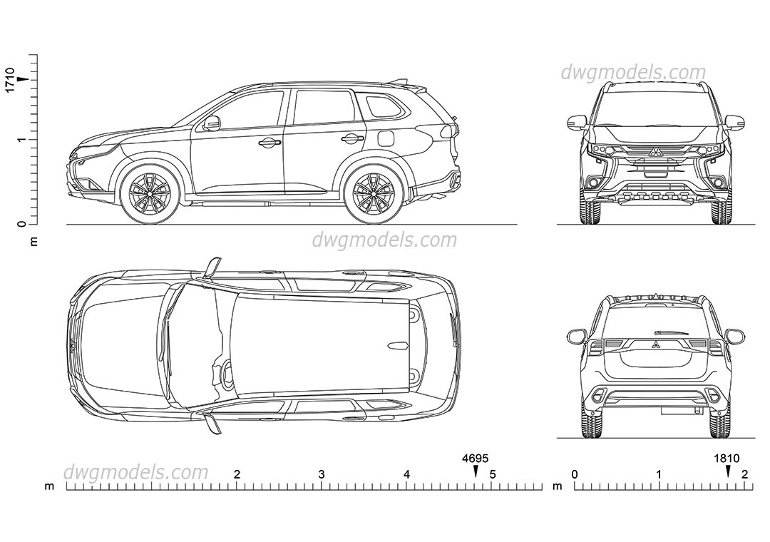Mitsubishi Outlander (2017) dwg, CAD Blocks, free download.