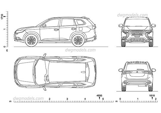 Mitsubishi Outlander (2017) AutoCAD blocks