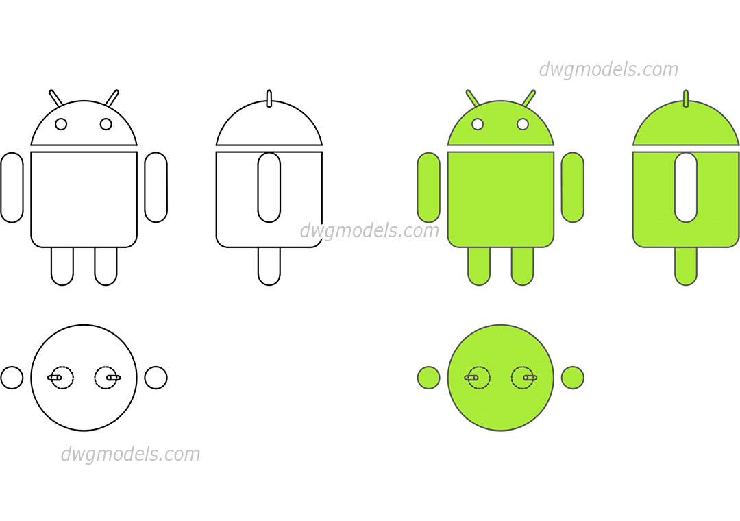Android Logo dwg, CAD Blocks, free download.