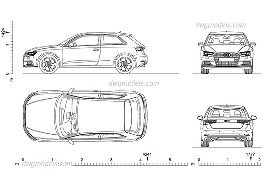 Audi A3 (2016) AutoCAD blocks