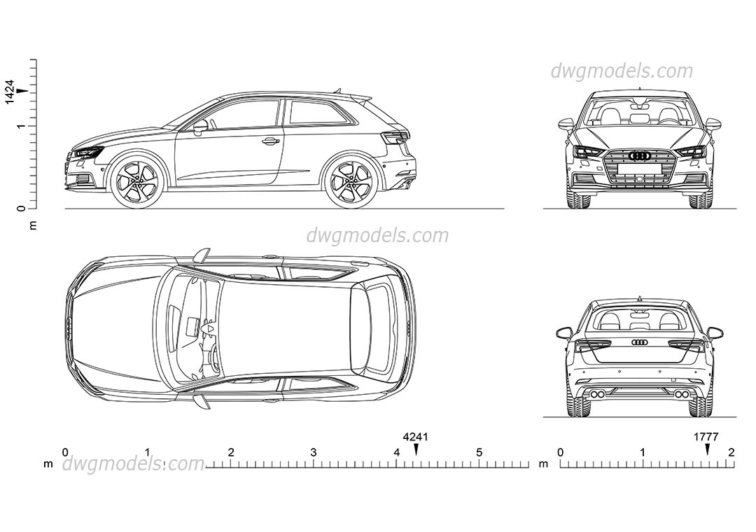 Audi A3 (2016) dwg, CAD Blocks, free download.