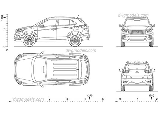 Hyundai Creta (2016) - DWG, CAD Block, drawing.