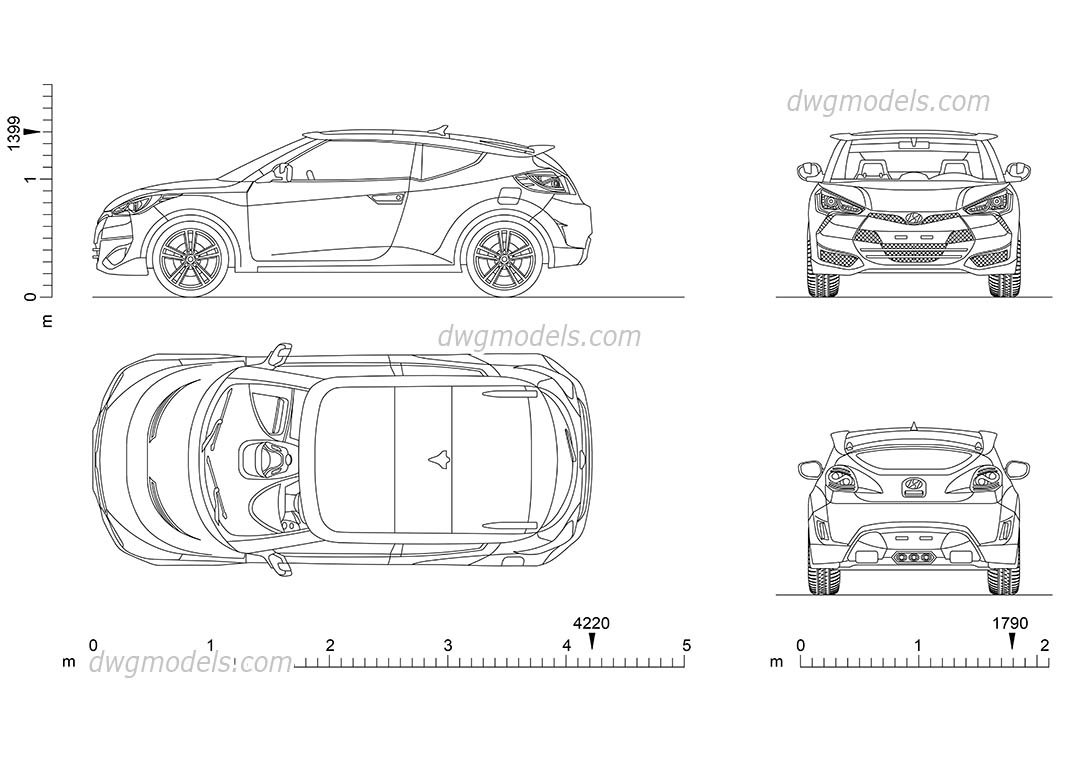 Hyundai Veloster dwg, CAD Blocks, free download.