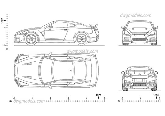 Nissan GT-R - DWG, CAD Block, drawing