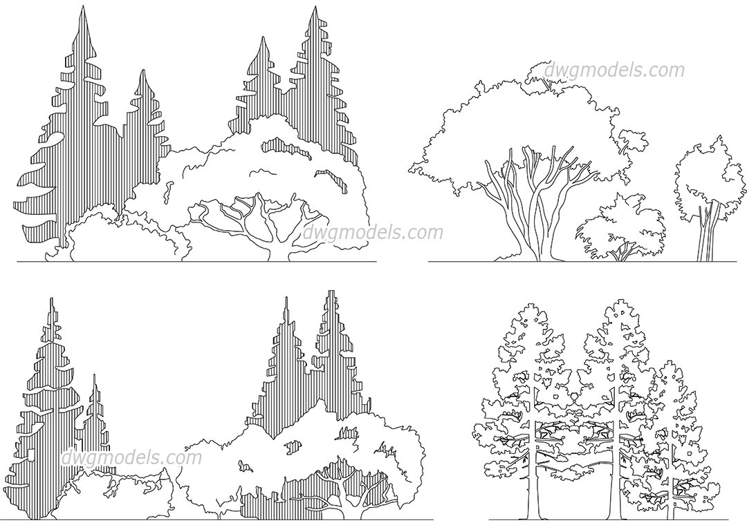 Group Of Trees dwg, CAD Blocks, free download.