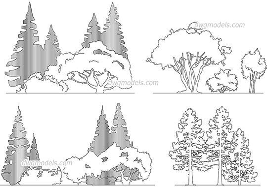 Line Drawings From D Models : Trees and plants dwg models cad drawings free download