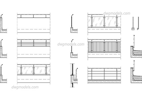 Railing dwg, cad file download free.