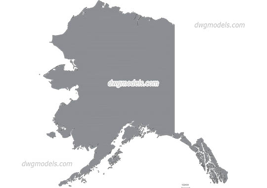 Map of Alaska free dwg model
