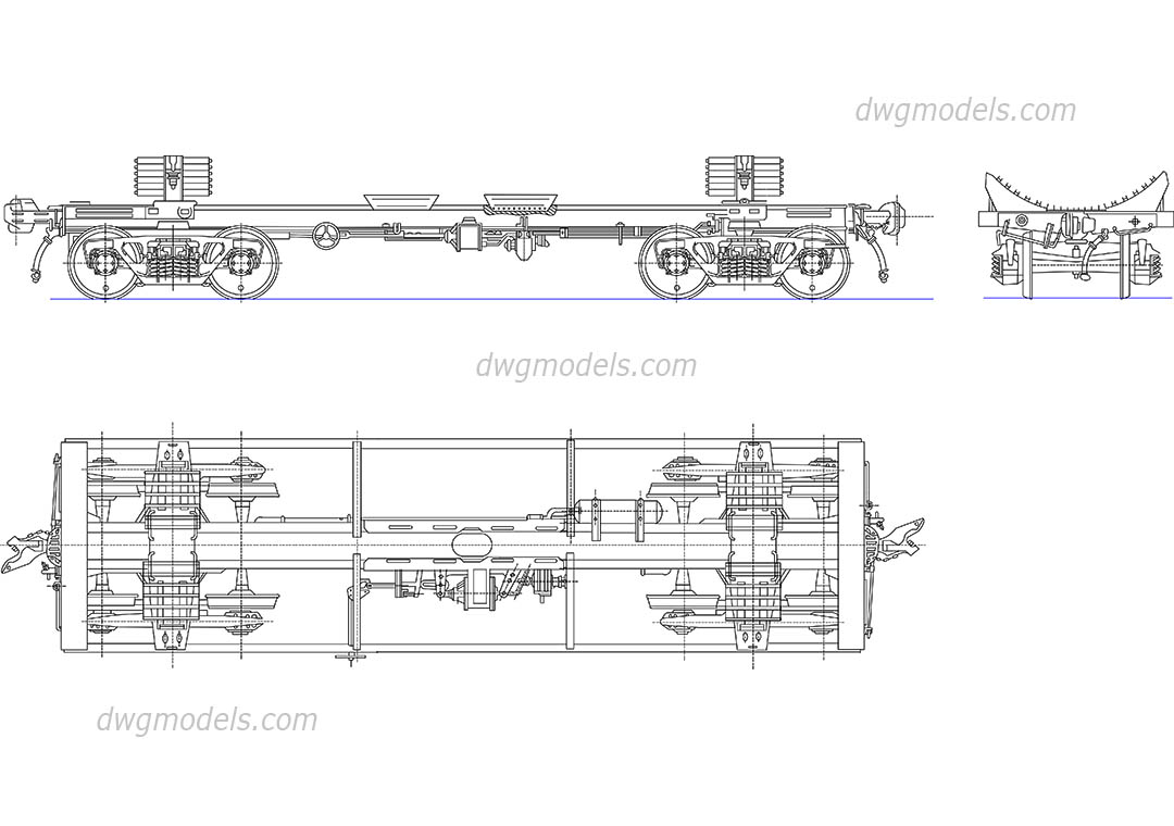 Freight Car Components dwg, CAD Blocks, free download.