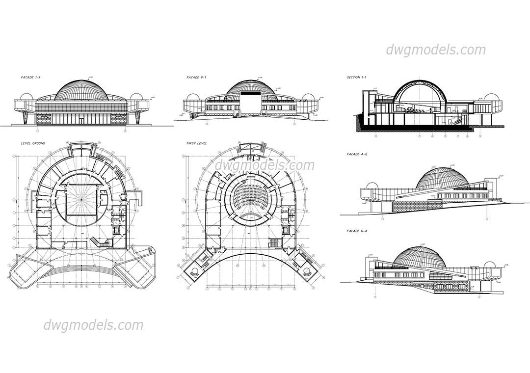 Planetarium dwg, CAD Blocks, free download.