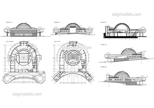 Planetarium dwg, cad file download free.