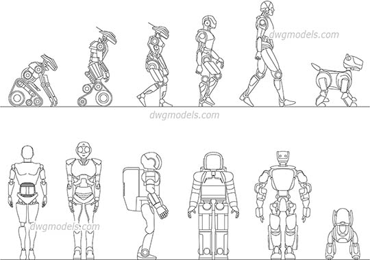 Robots dwg, cad file download free.