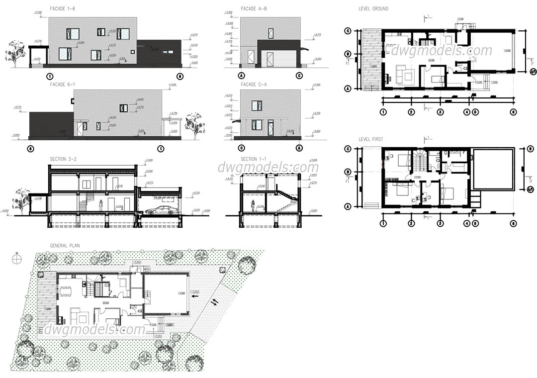 Modern house autocad plans drawings free download for House plan cad file