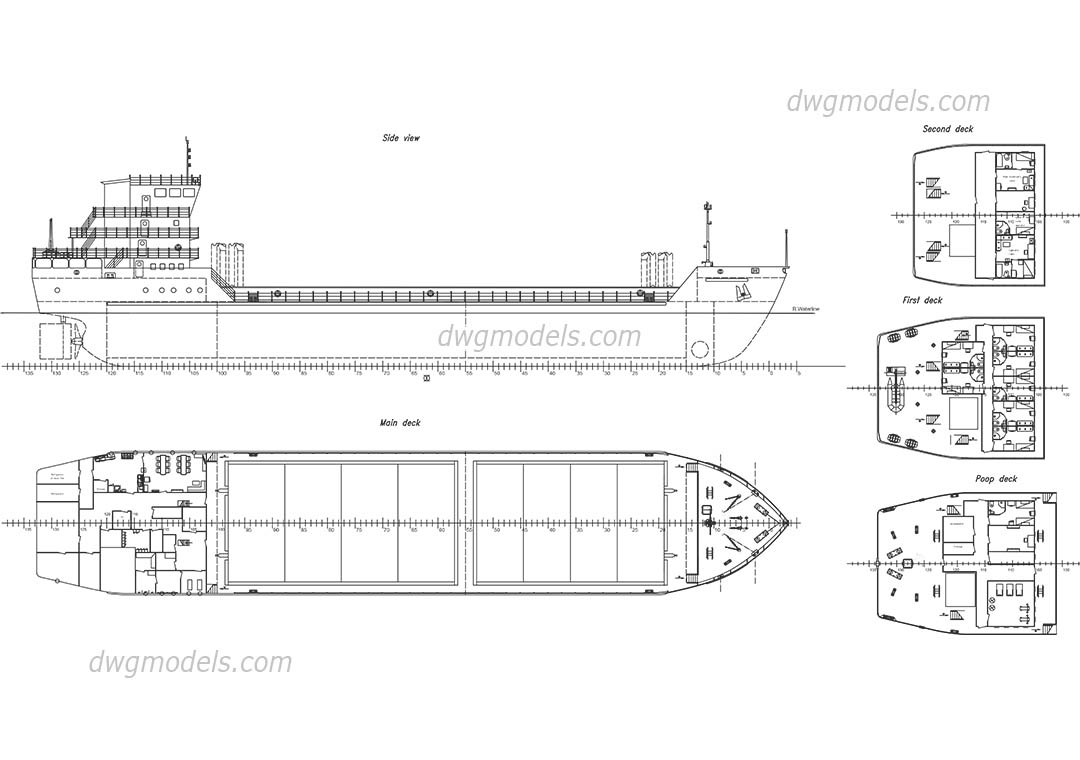 Cargo Ship dwg, CAD Blocks, free download.