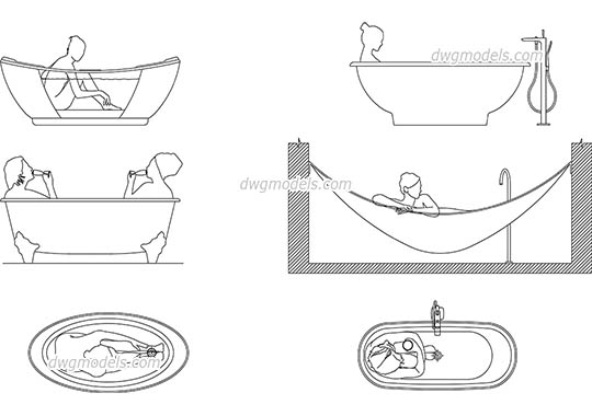 People in Bathtub free dwg model