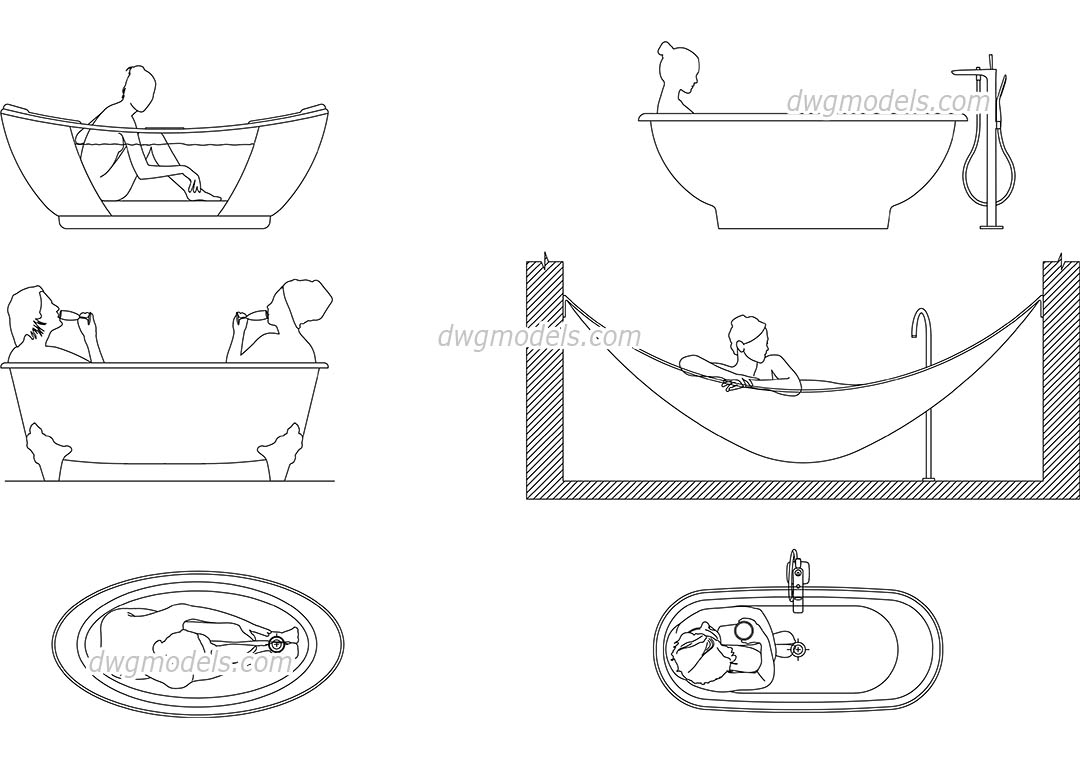 People in Bathtub CAD blocks, download free AutoCAD file
