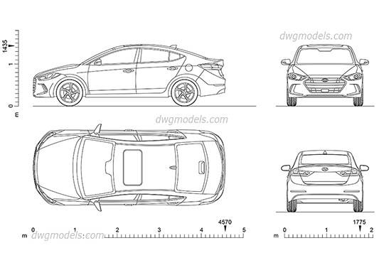 Hyundai Elantra (2017) - DWG, CAD Block, drawing.