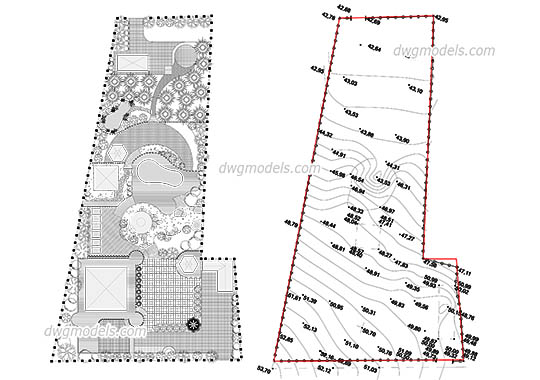 Garden Design Plan free dwg model