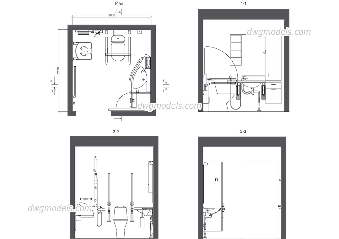 WC for disabled dwg, CAD Blocks, free download.