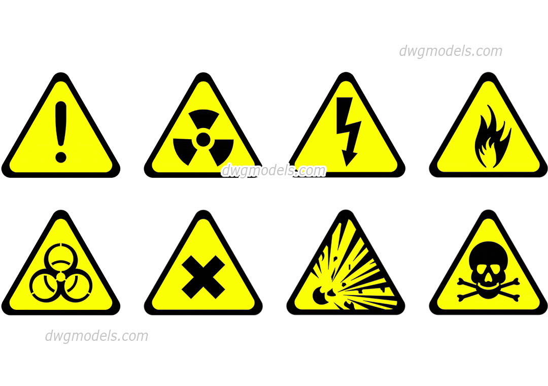 Hazard Symbol Vector Free Autocad File Download