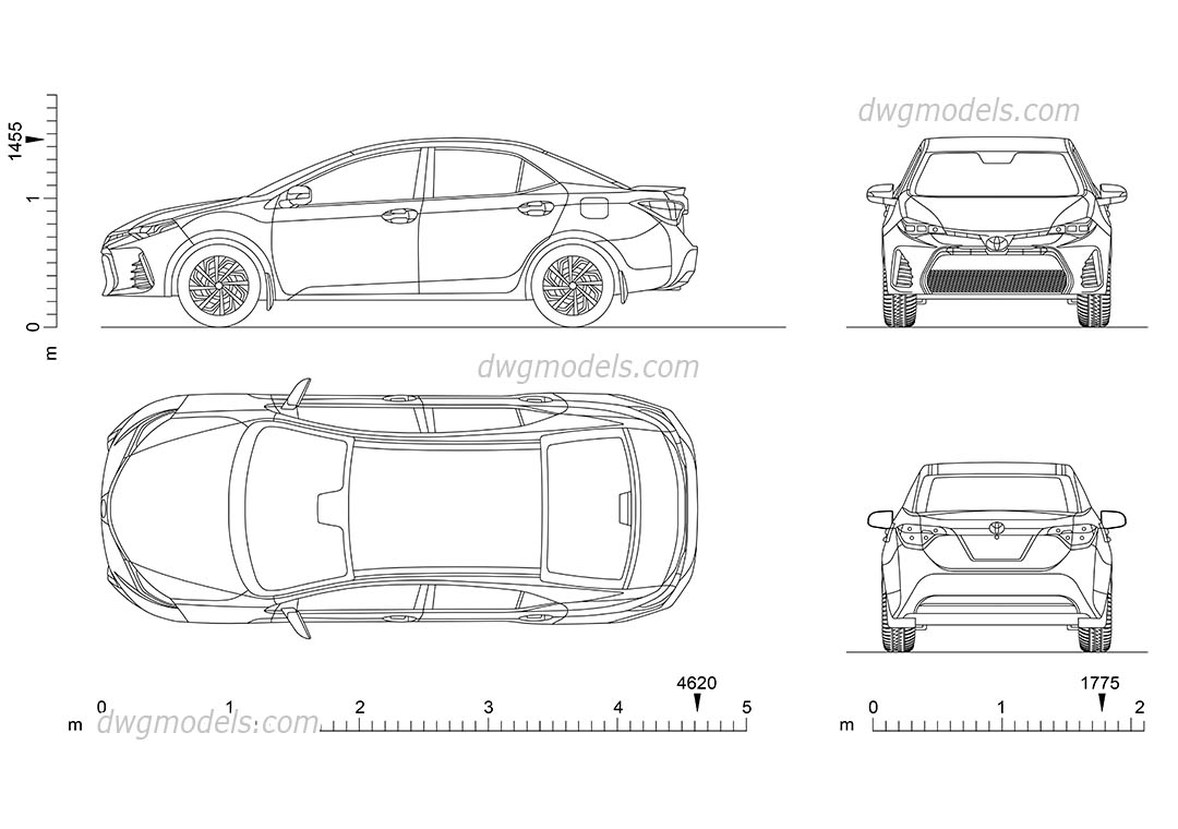 Toyota Corolla CAD drawings download, car top view, rear ...