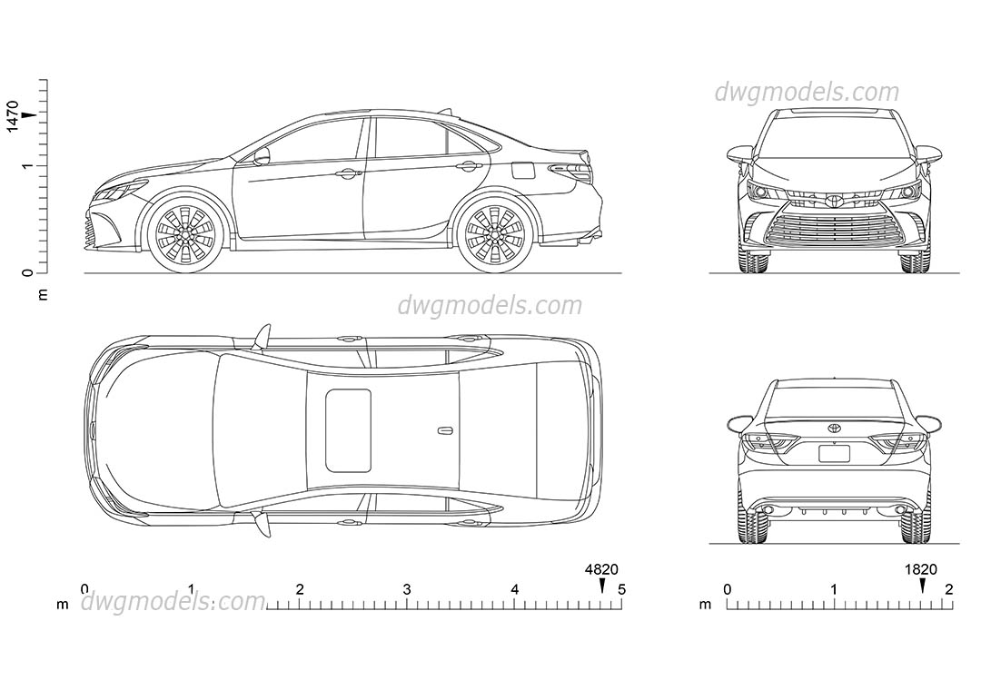 Toyota Camry (2014) dwg, CAD Blocks, free download.