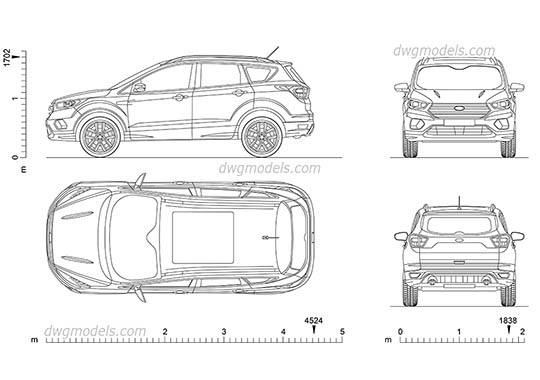 Ford Kuga (2017) dwg, cad file download free