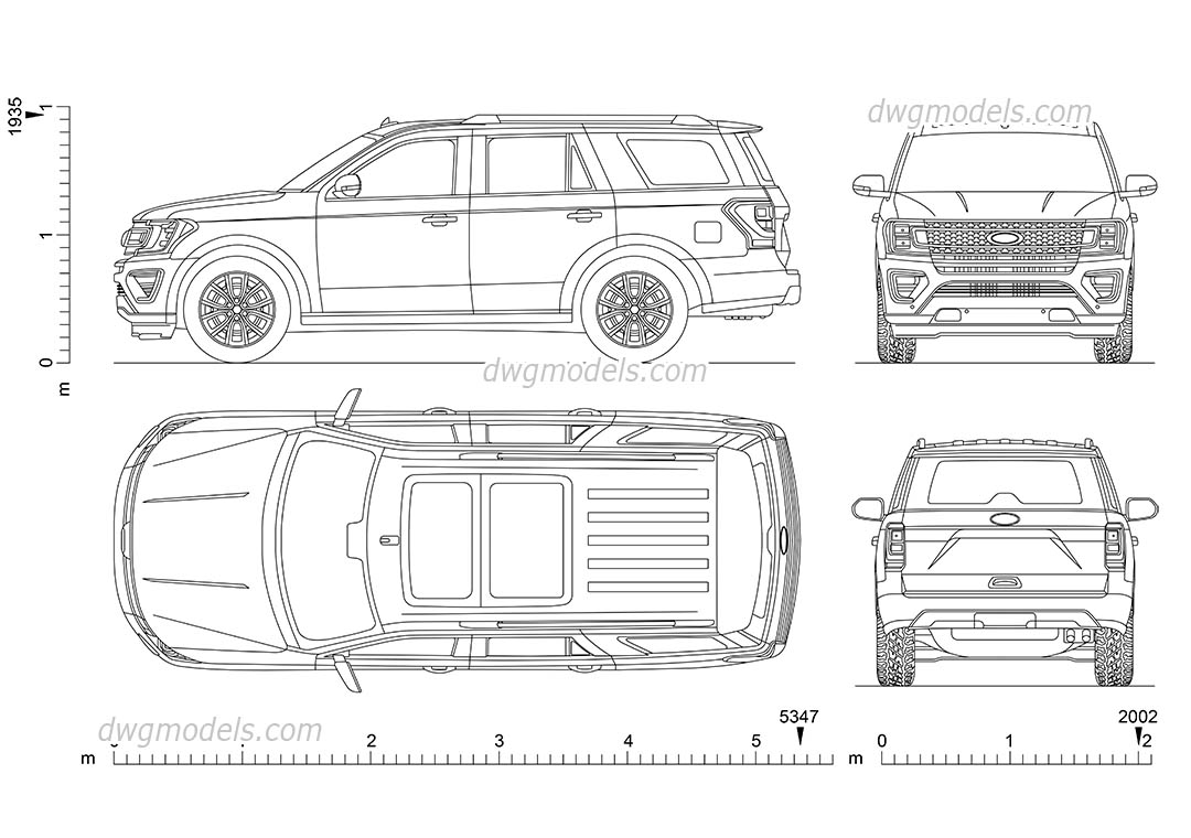 Ford Expedition dwg, CAD Blocks, free download.