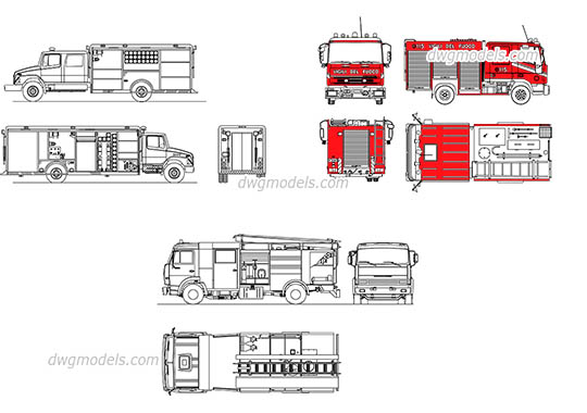 Fire trucks free dwg model