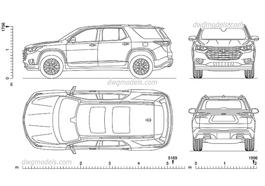 Chevrolet Traverse - DWG, CAD Block, drawing