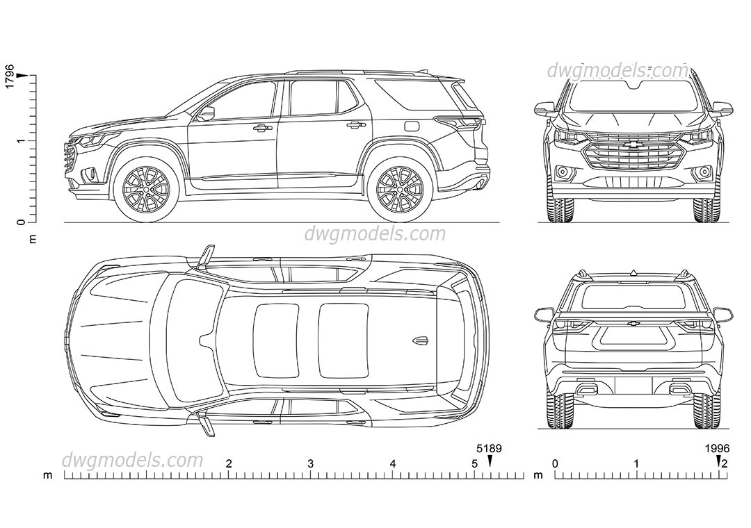 Chevrolet Traverse dwg, CAD Blocks, free download.