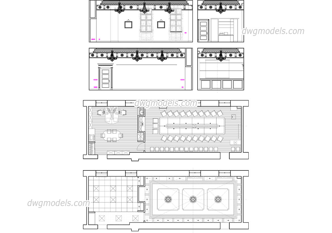 Conference Room dwg, CAD Blocks, free download.