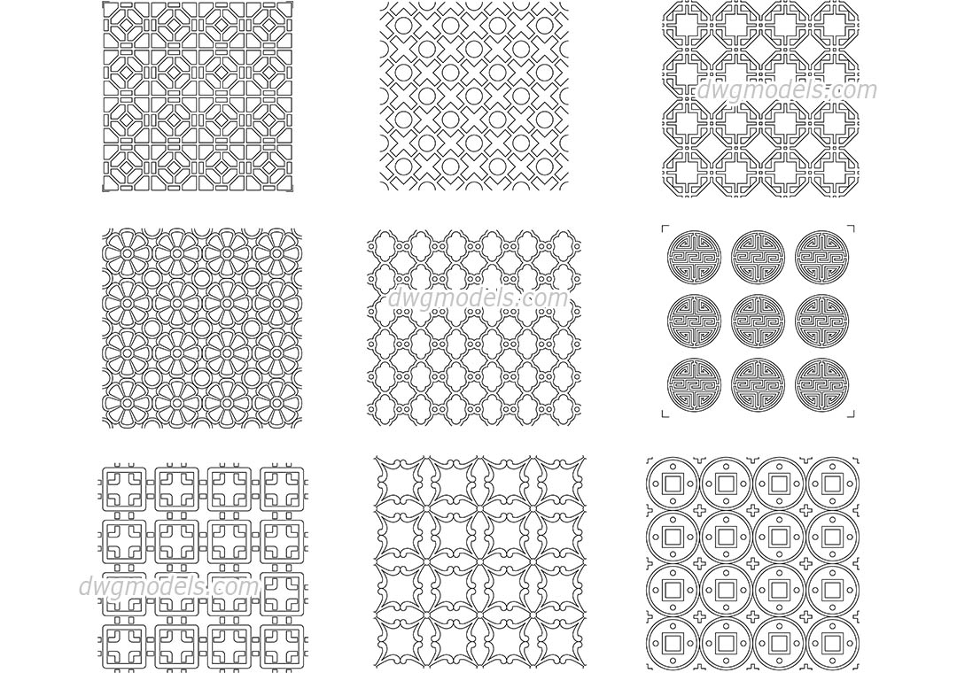 Chinese Pattern Dwg CAD Blocks Free Download