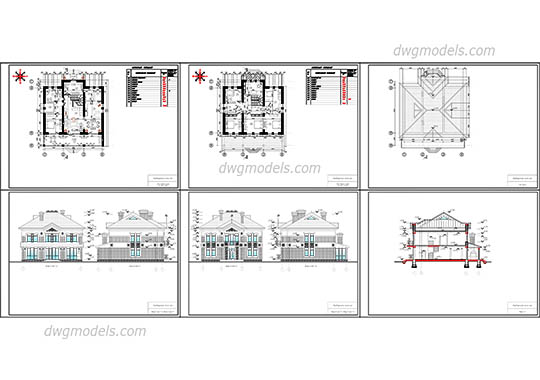 Villas dwg models, free download