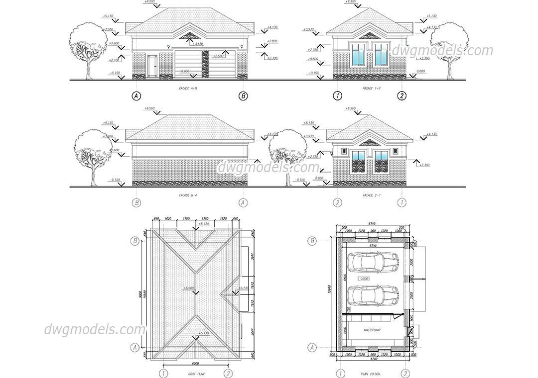 Garage For Two Cars dwg, CAD Blocks, free download.
