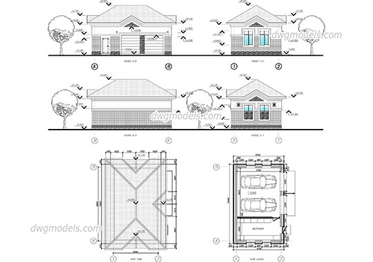 Garage For Two Cars dwg, cad file download free.