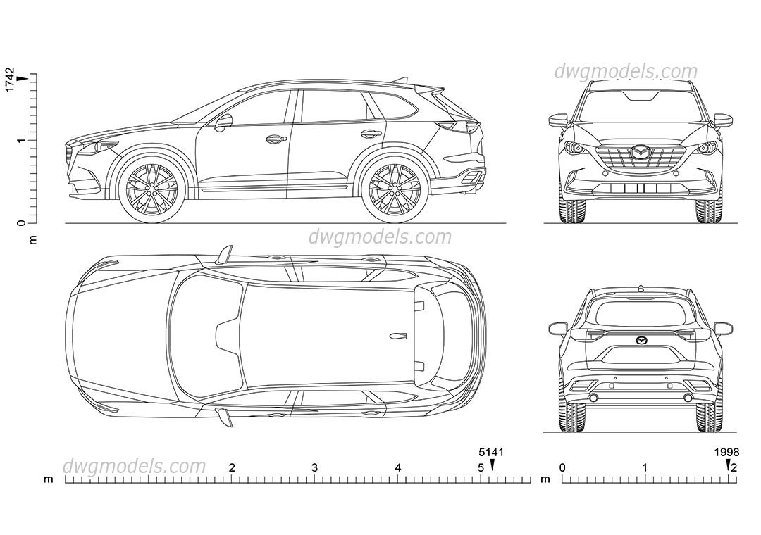 Mazda CX-9 dwg, CAD Blocks, free download.