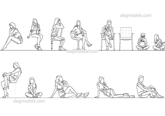 Sitting Girls dwg, cad file download free