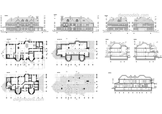 Project of The Villa dwg, cad file download free
