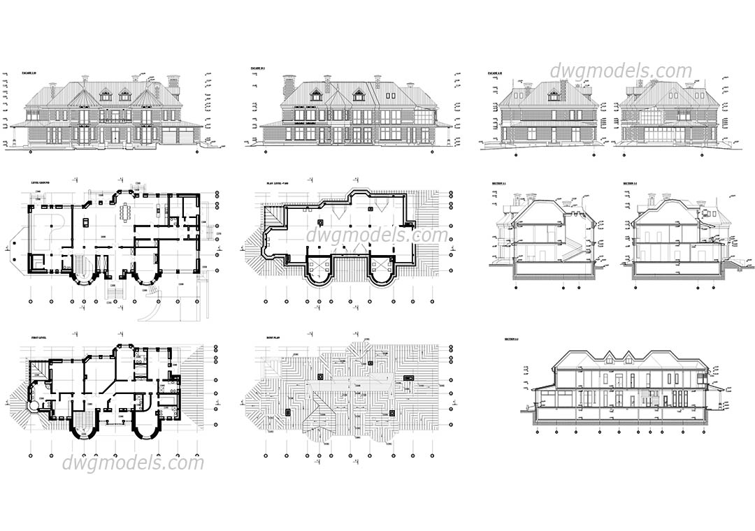 Project of The Villa dwg, CAD Blocks, free download.