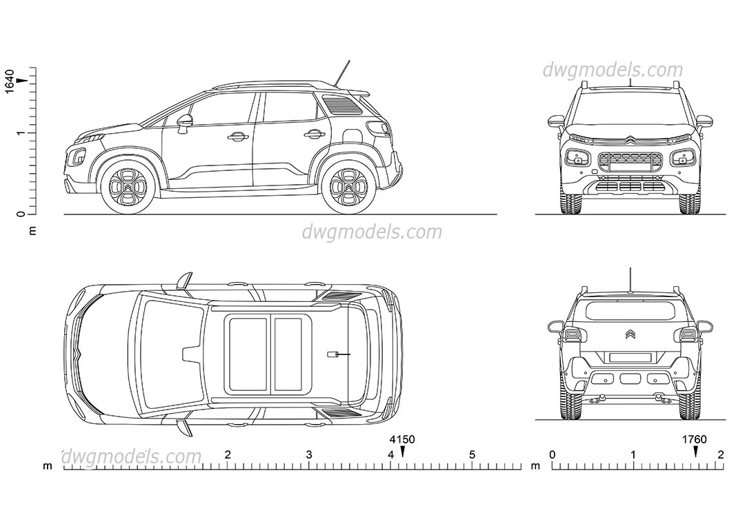 Citroen C3 dwg, CAD Blocks, free download.